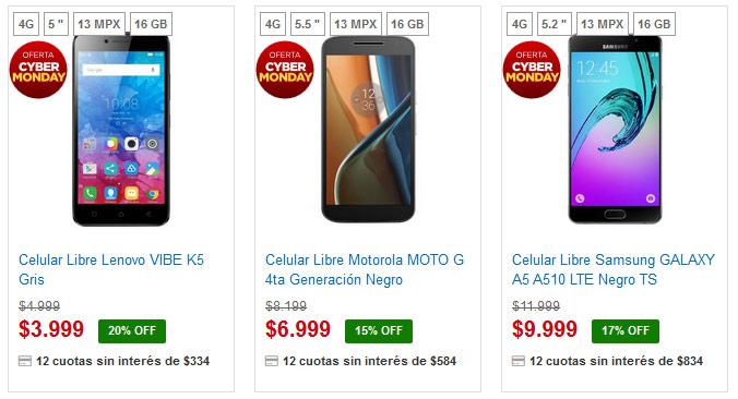Garbarino smartphones Cyber Monday celulares