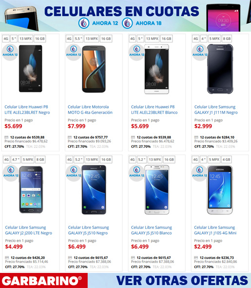 Comprar celulares en cuotas Garbarino